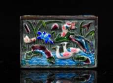 13 Antique Chinese enamel matchbook holder