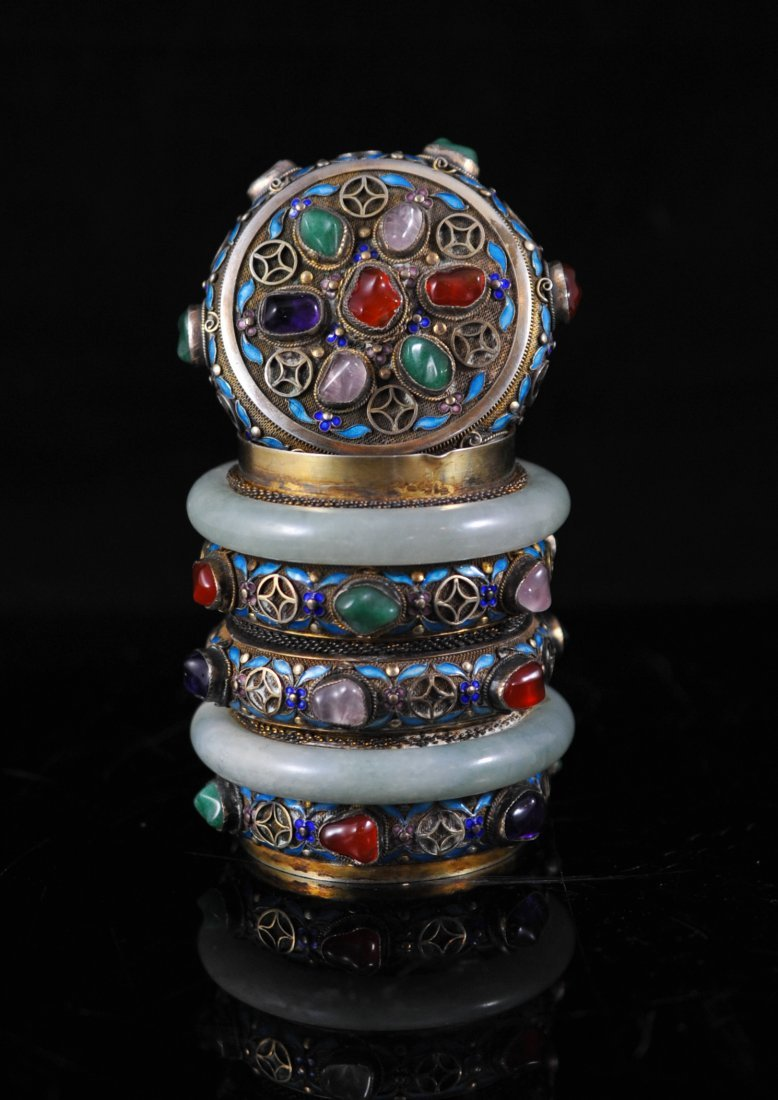 40: Chinese silver and enamel multi stone box