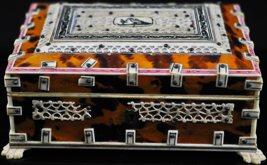 Anglo indian tortoise shell and filigree ivory box