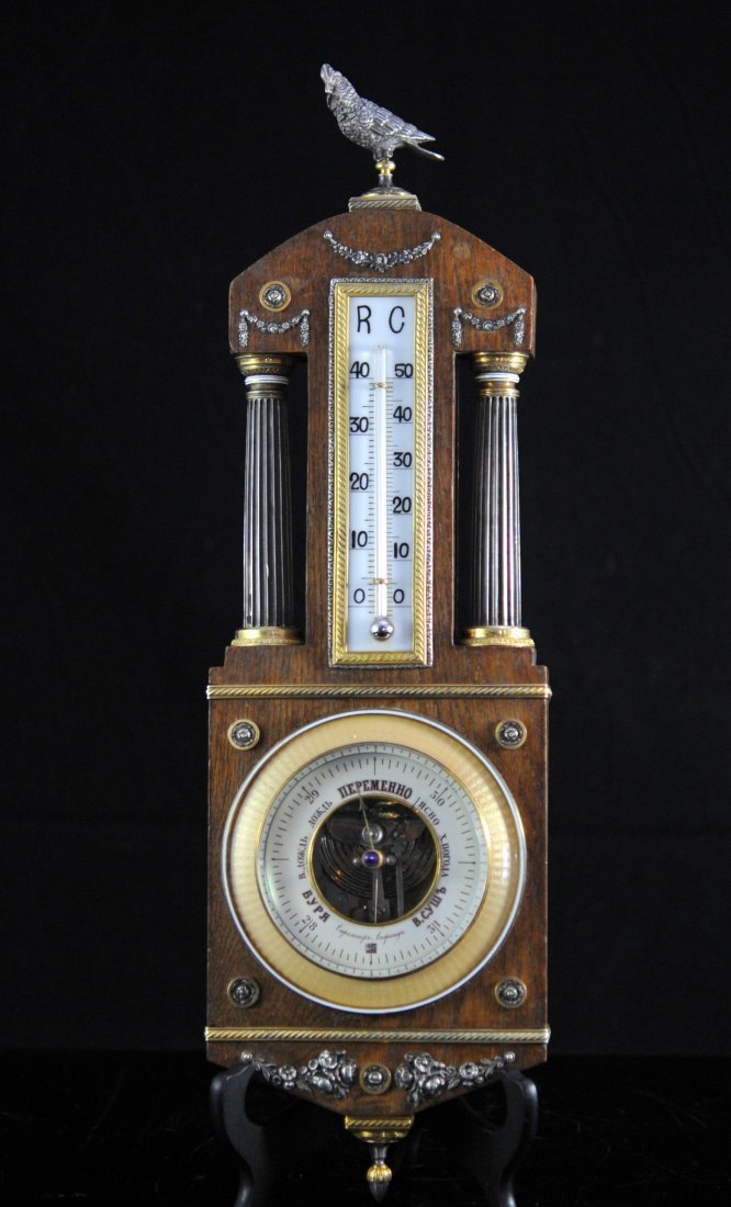 Antique Faberge silver and enamel thermometer