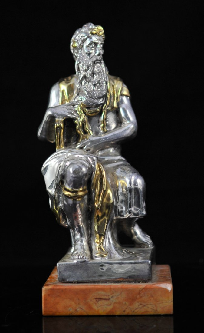 Sterling figure of Moses and the ten commandments