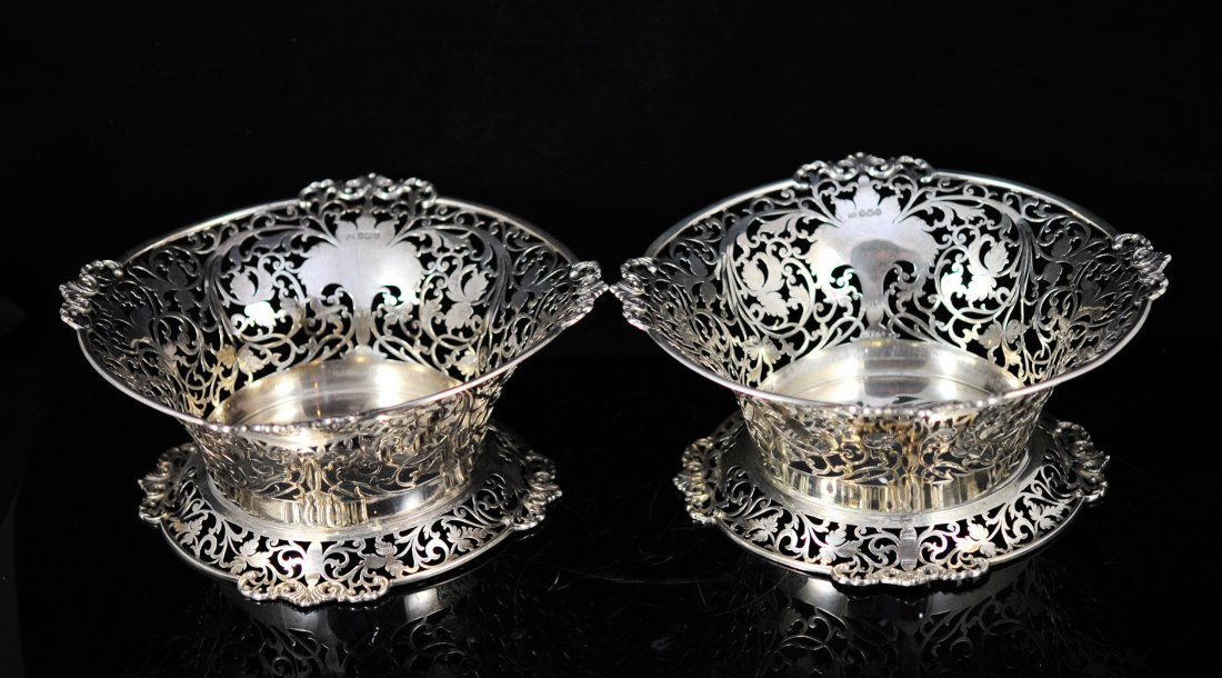 Pair of Mappin and Webb sterling fruit baskets