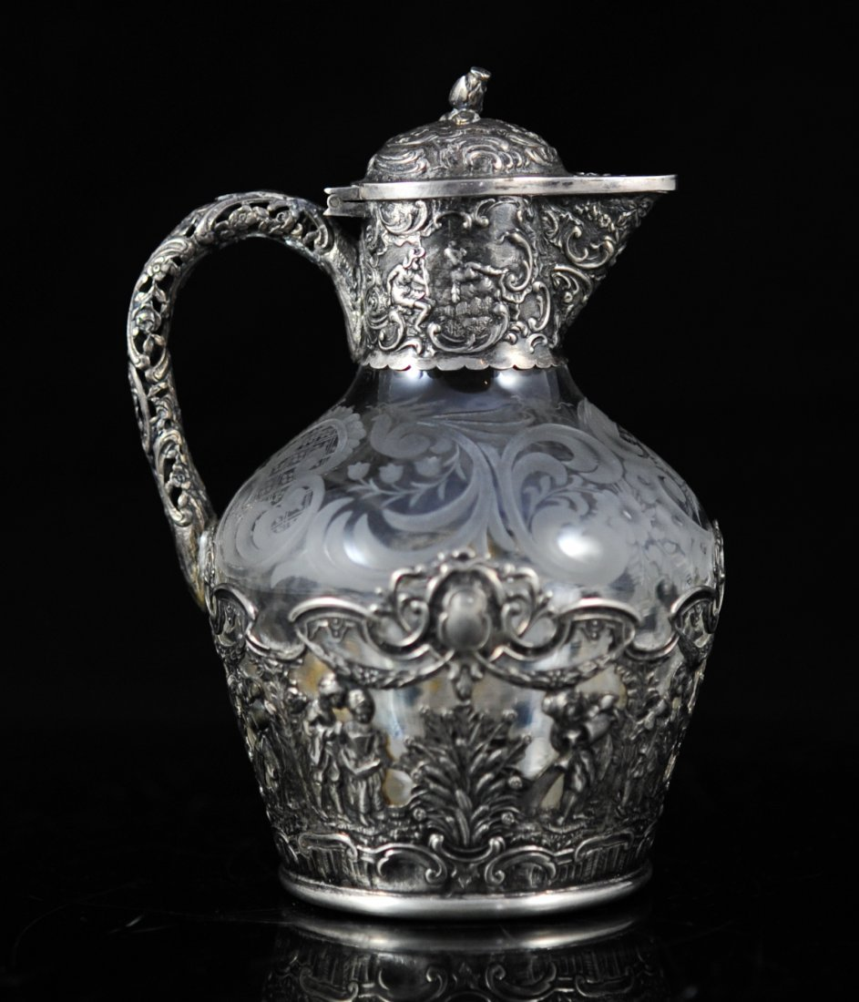 Petite Dutch sterling and crystal pitcher. Hallmarked