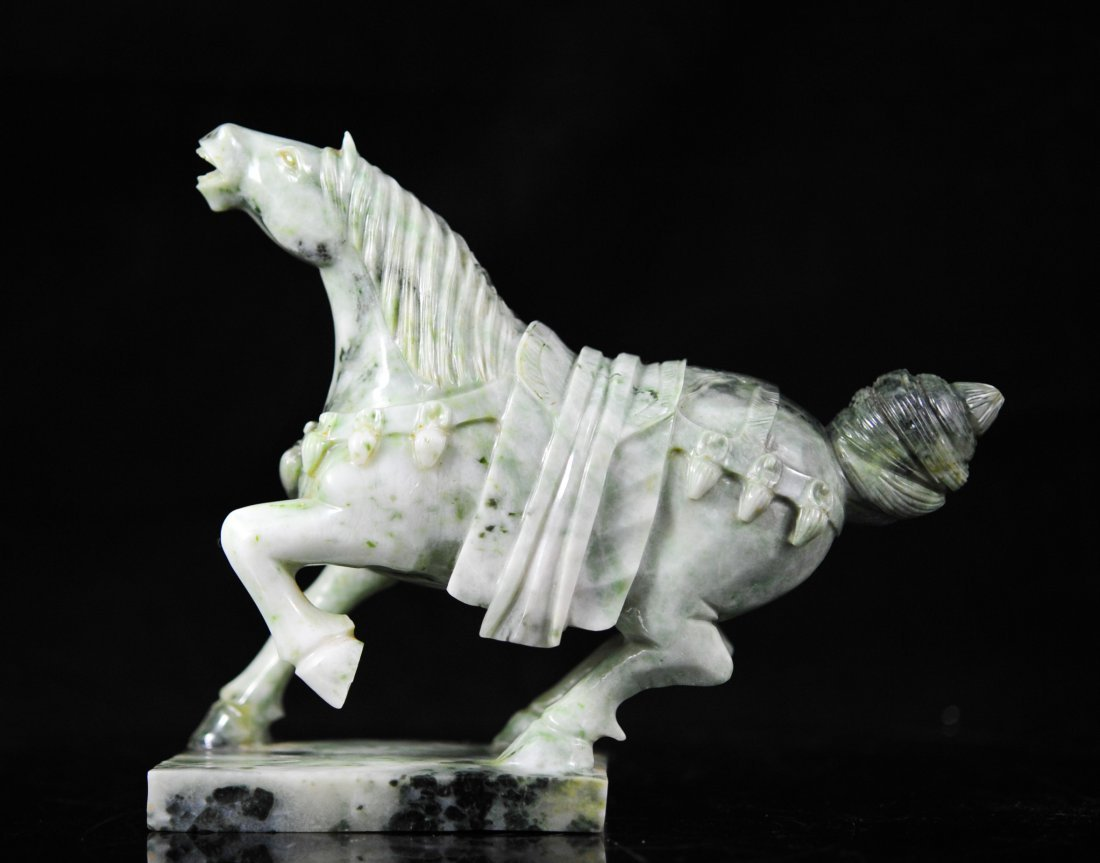 Vintage Chinese jade horse carving on base