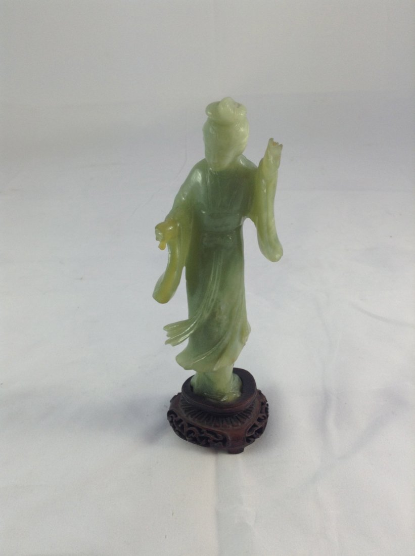 Antique Chinese jade Quan Yin figure on base