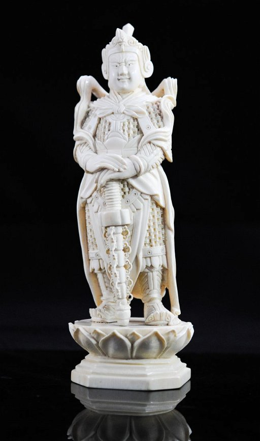 Antique Chinese Hand Carved Ivory Warrior Figure Mar 20 2013
