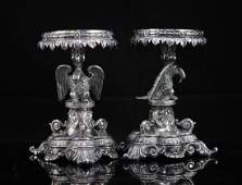 Pair of matching English silver plated ornate candle st