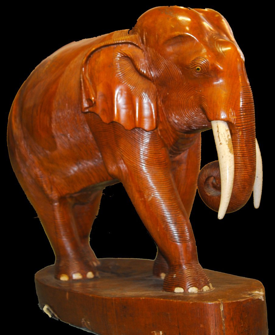 Large Chinese teak hand carved wooden elephant