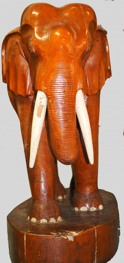 Large Chinese teak hand carved wooden elephant - 8