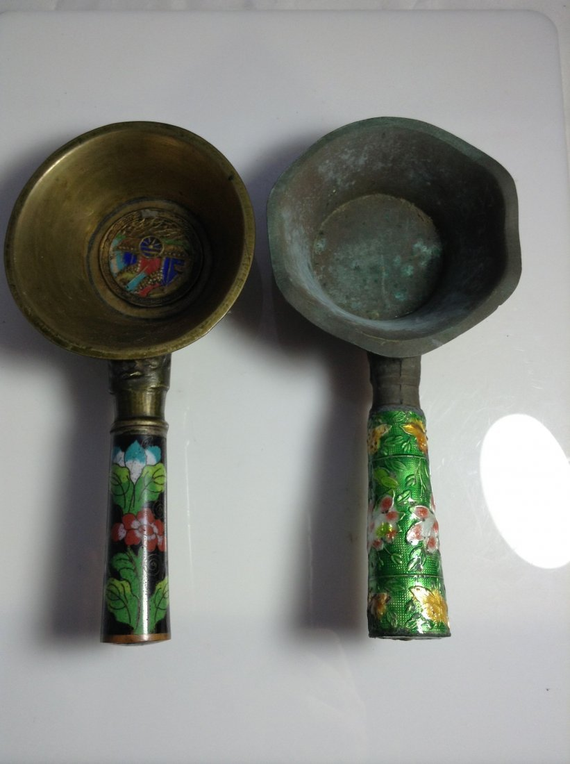 Pair of Chinese cloisonne and copper ladles