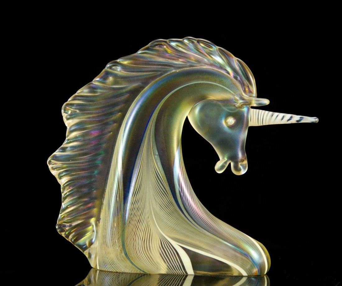 Stuart Abelman art glass unicorn bust. Signed