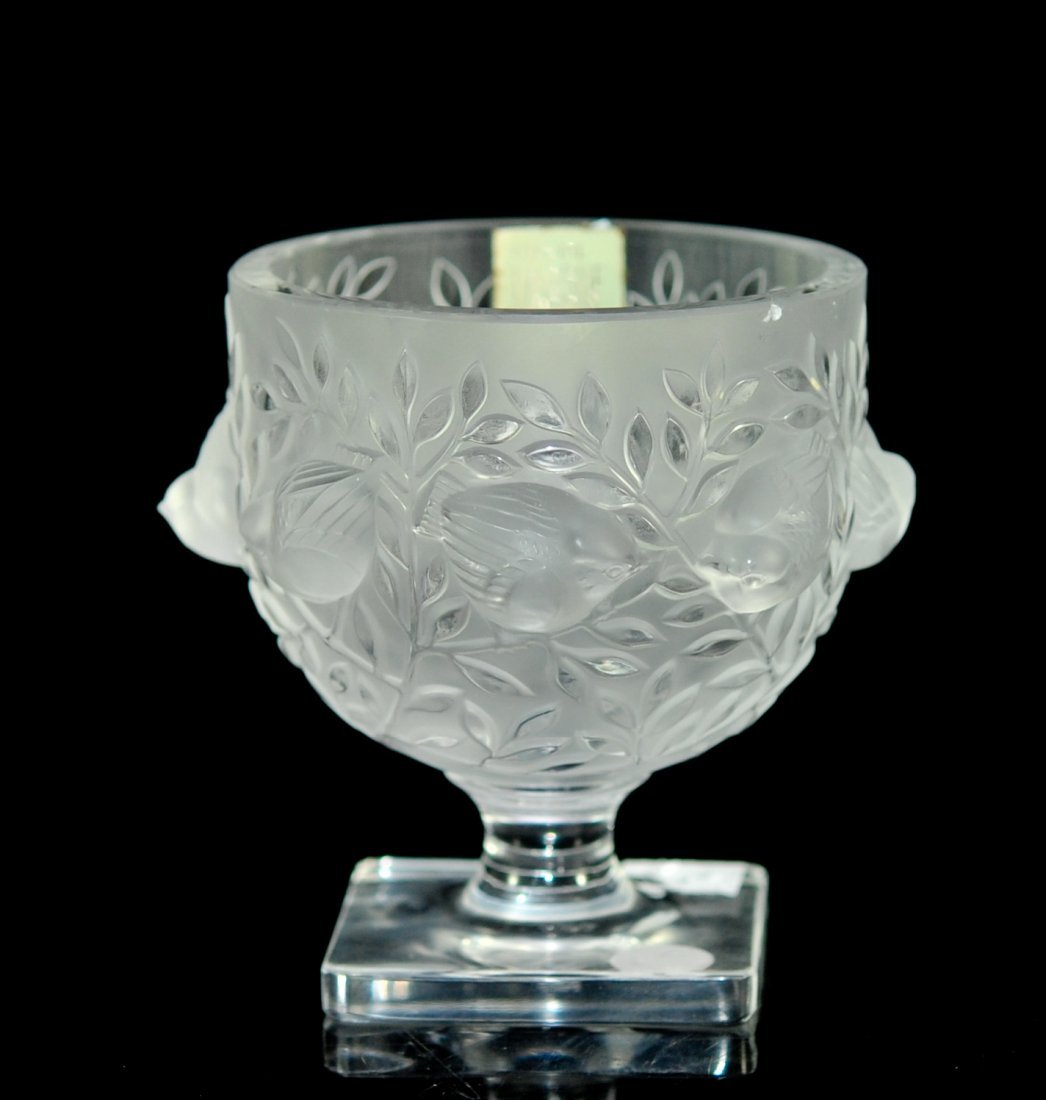 "Lalique frosted crystal ""Elizabeth"" bird vase"
