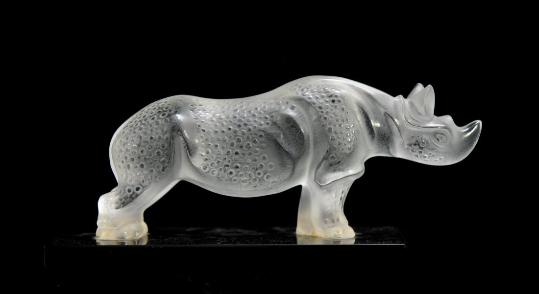 Large Lalique frosted crystal Rhinoceros on base
