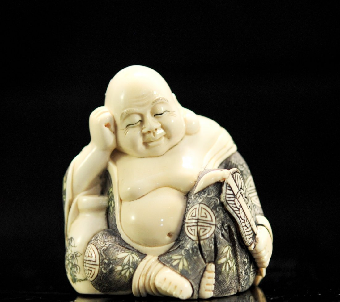Antique hand carved Japanese ivory Buddha. Signed
