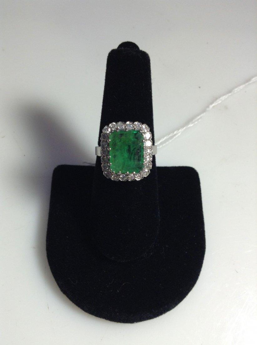 5.00ct emerald and diamond platinum ladies ring