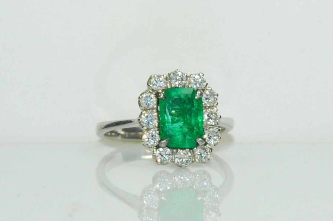 Ladies vintage French 18k, diamond and emerald ring