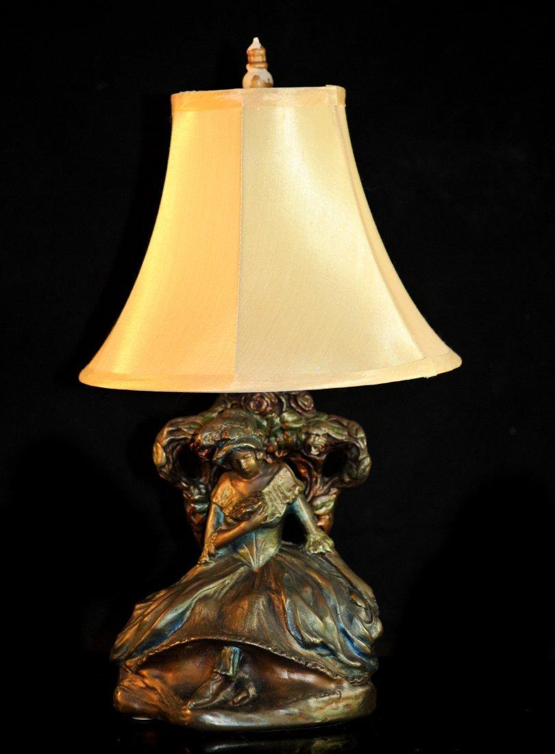 """Bonnie Macleary"" polychrome bronze figural lamp"