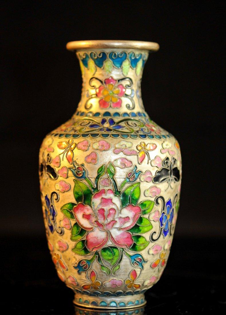 Antique Chinese champleve enamel vase