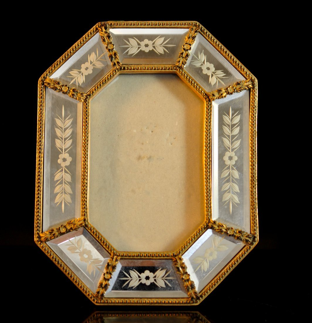 Vintage Venetian dore wood and glass frame