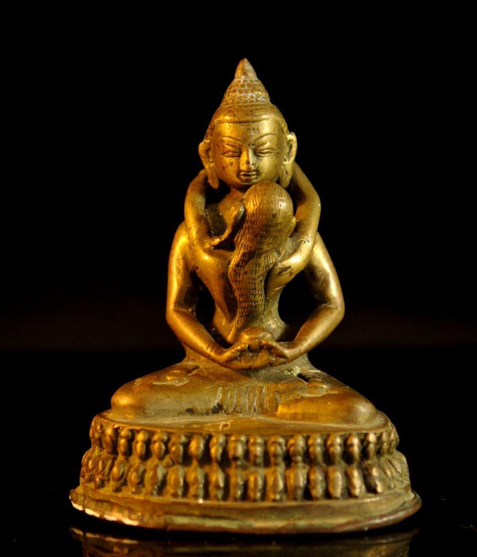 Antique erotic Asian God bronze on base