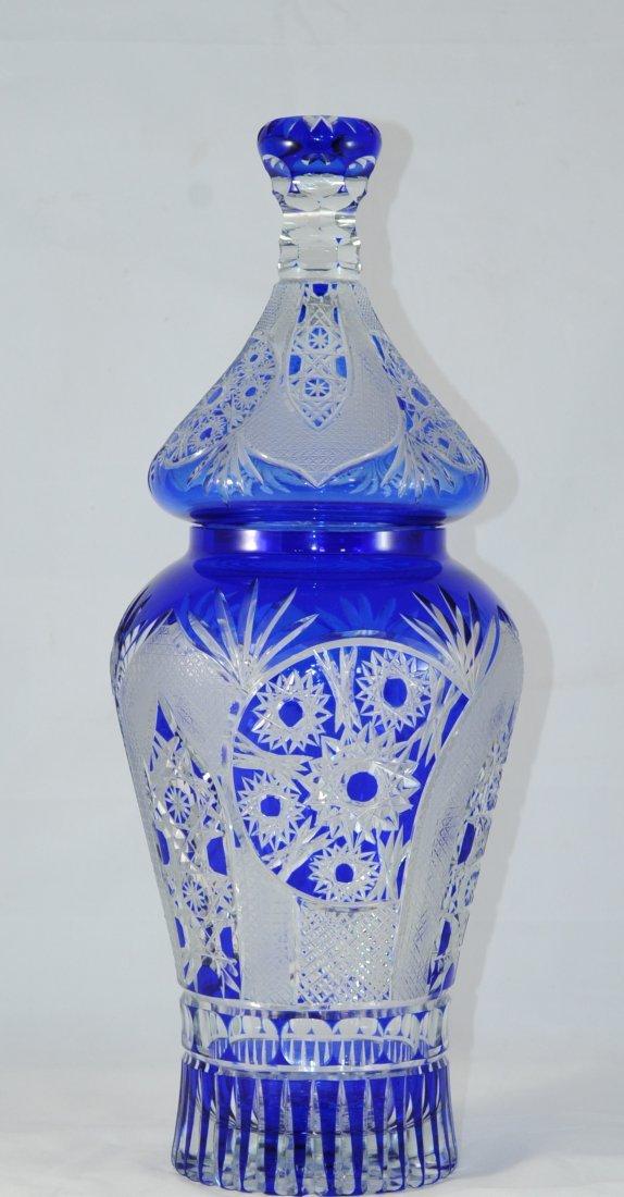 Giant cobalt cut crystal Bohemian urn