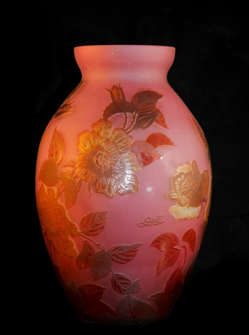 Large French Cameo art glass vase. Signed Galle