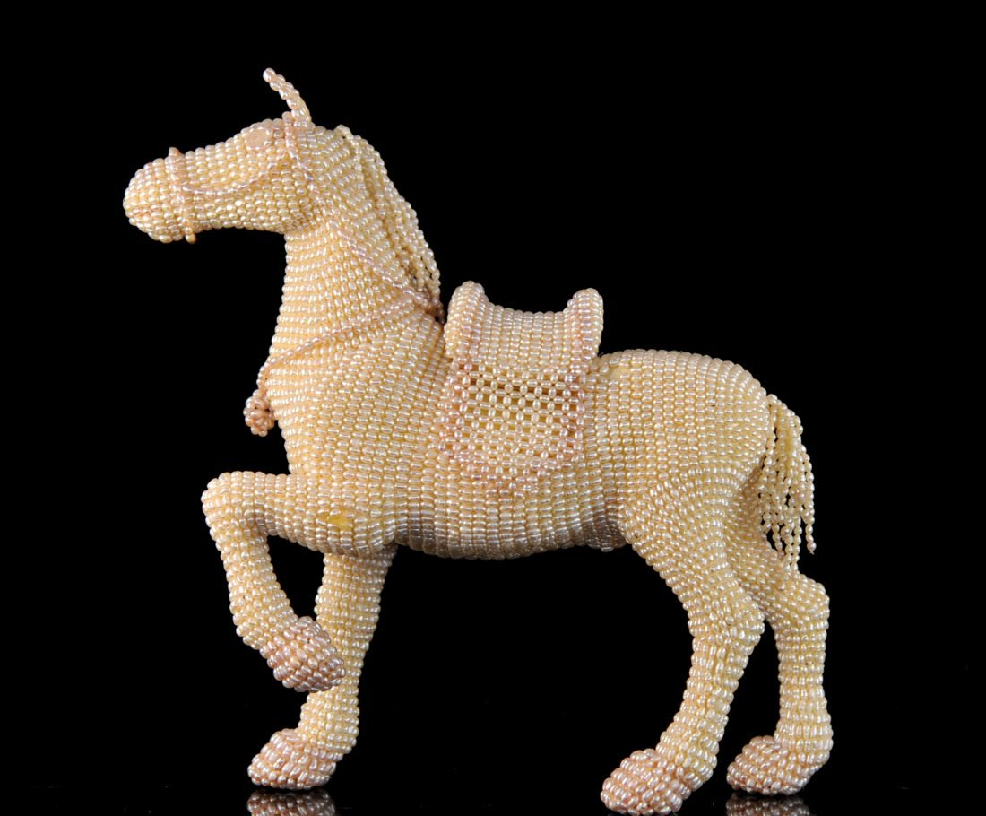 Vintage horse figure made from fresh water pearls