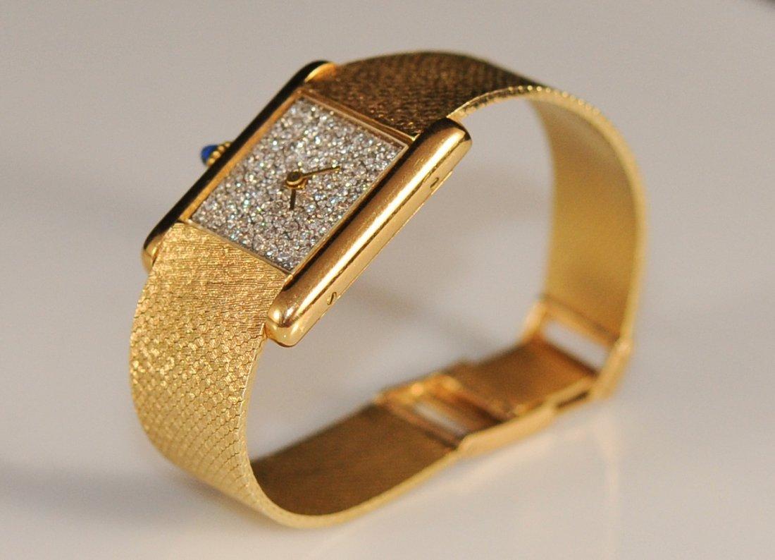 Ladies 18k Cartier Tank with diamond dial