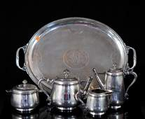 French Christofle silver plated tea set w tray