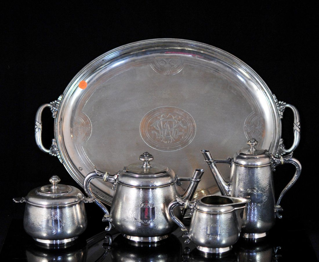 French Christofle silver plated tea set w/ tray