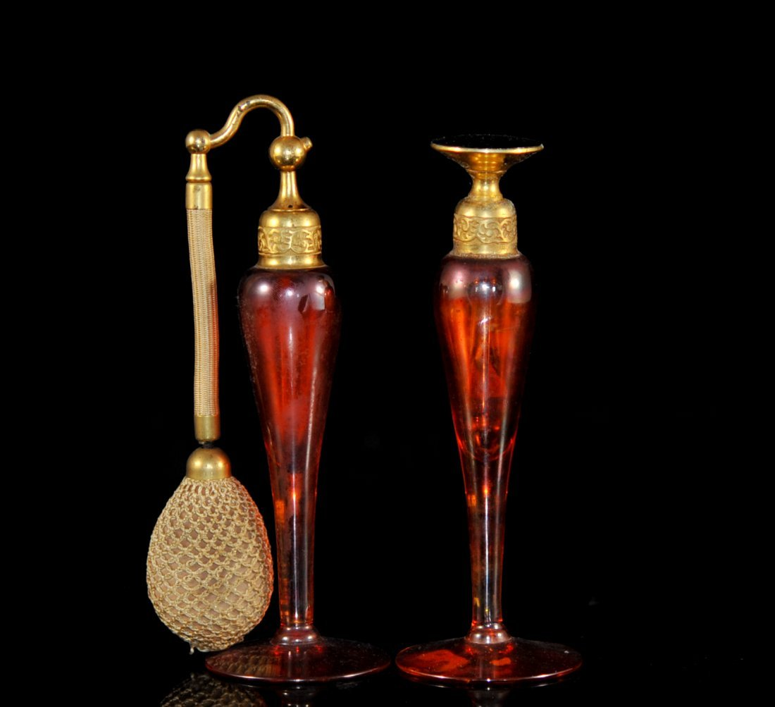 "Pair of antique ""De Vilbiss"" scent and atomizer bottles"