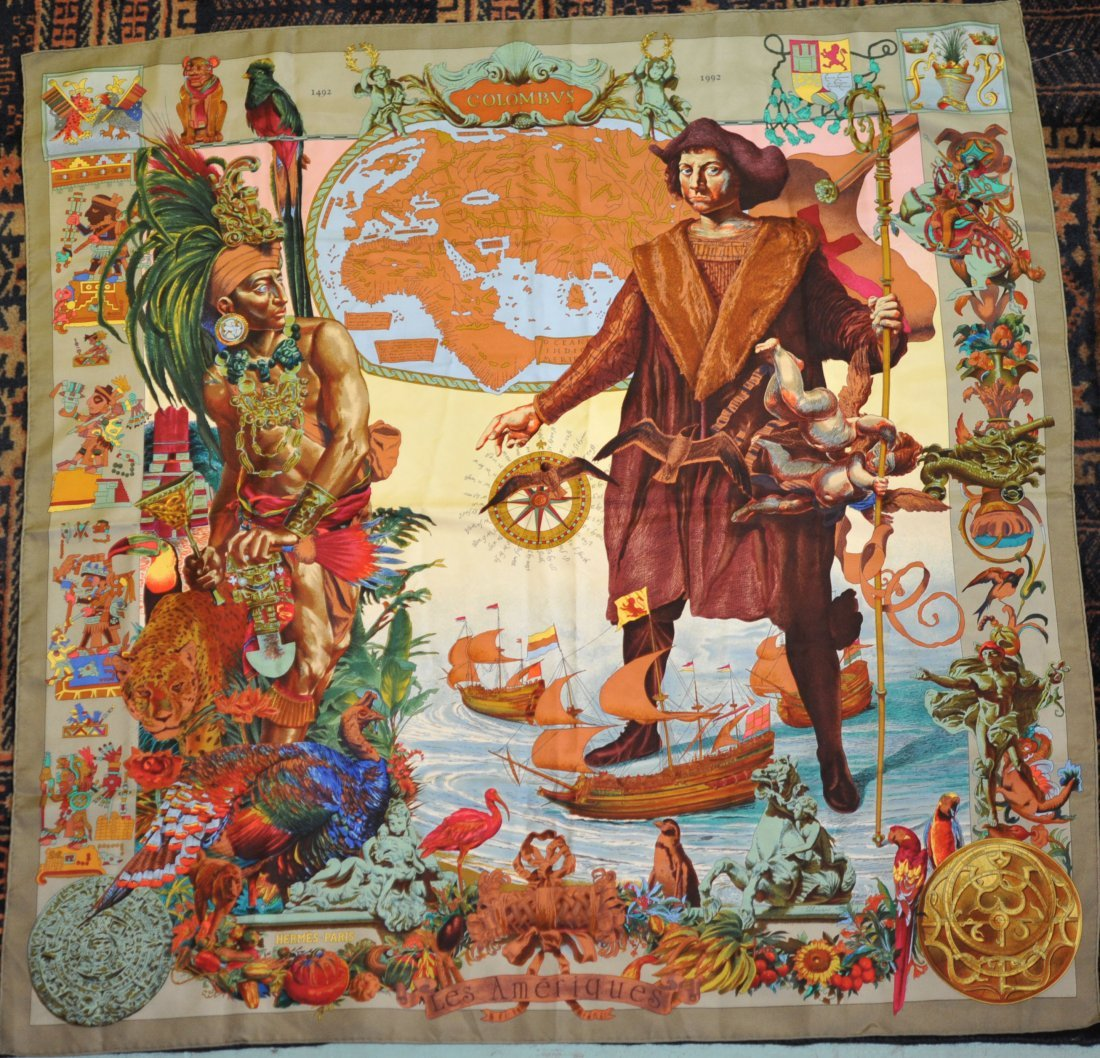 "Authentic Hermes silk scarf ""Columbus theme"""