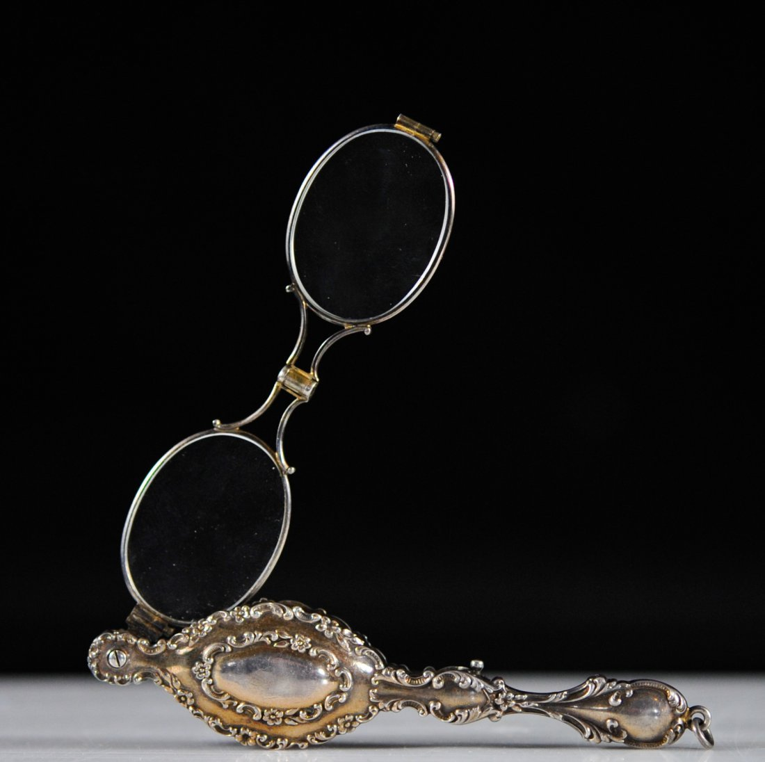 Early French Nouveau sterling mechanical lorgnette