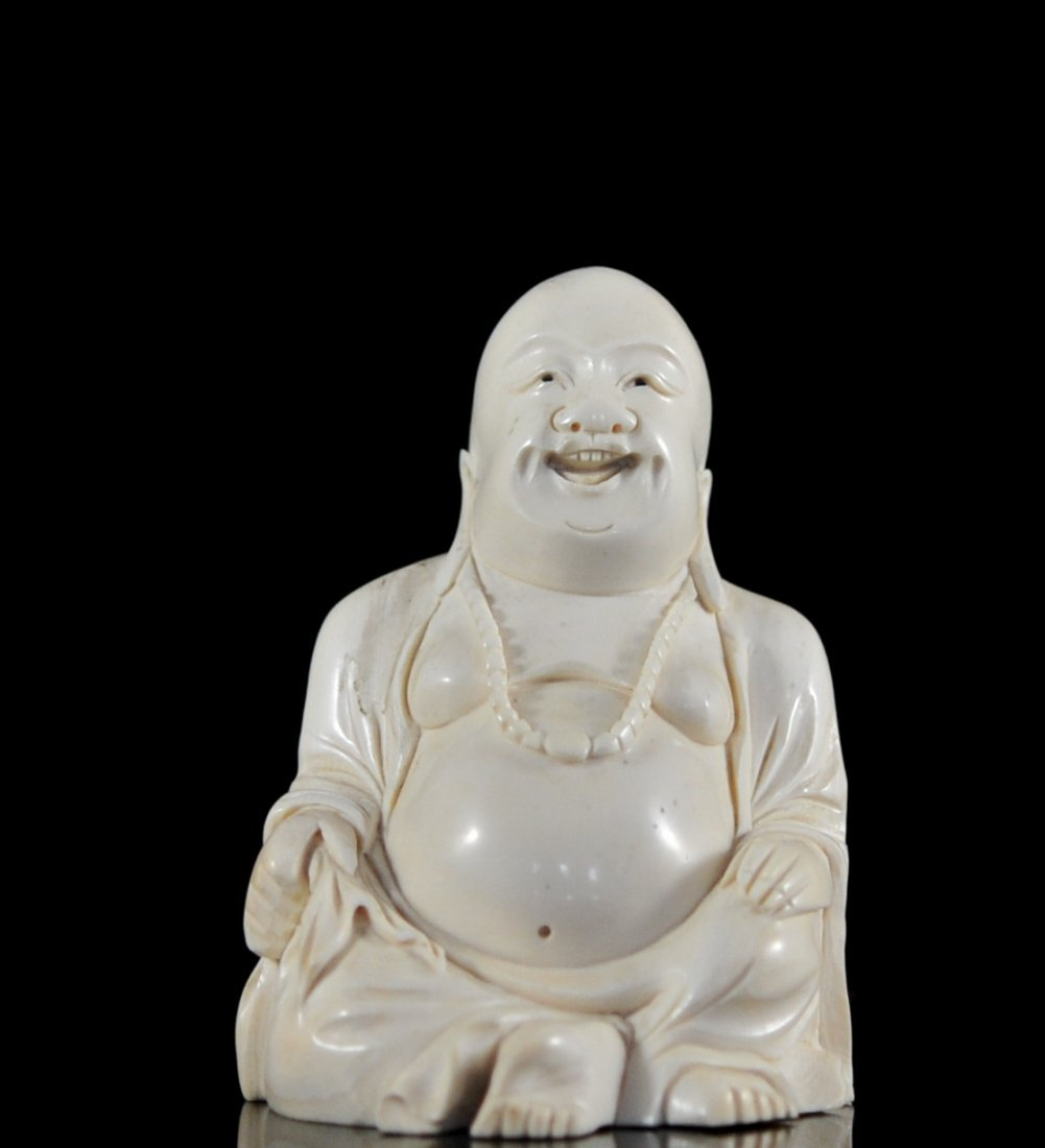 Antique Chinese hand carved laughing Buddha figure