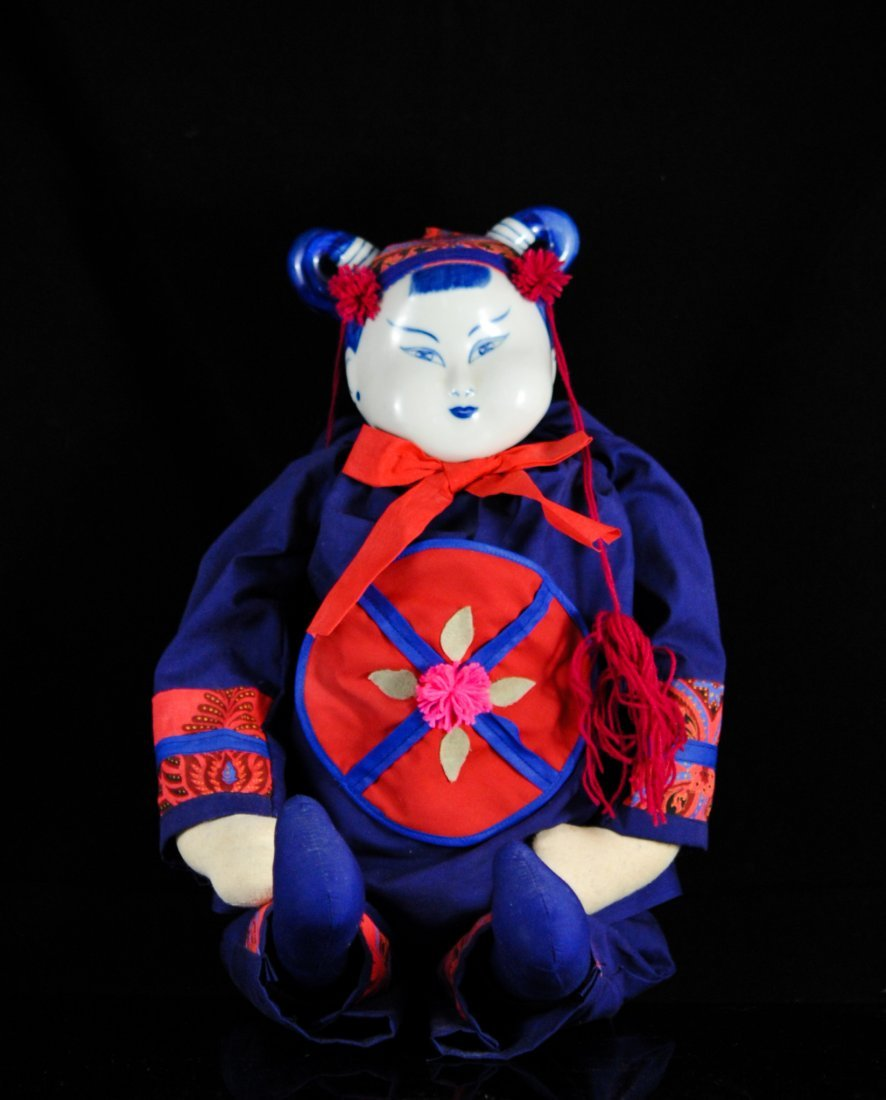 Antique Chinese Porcelain & Cotton Doll