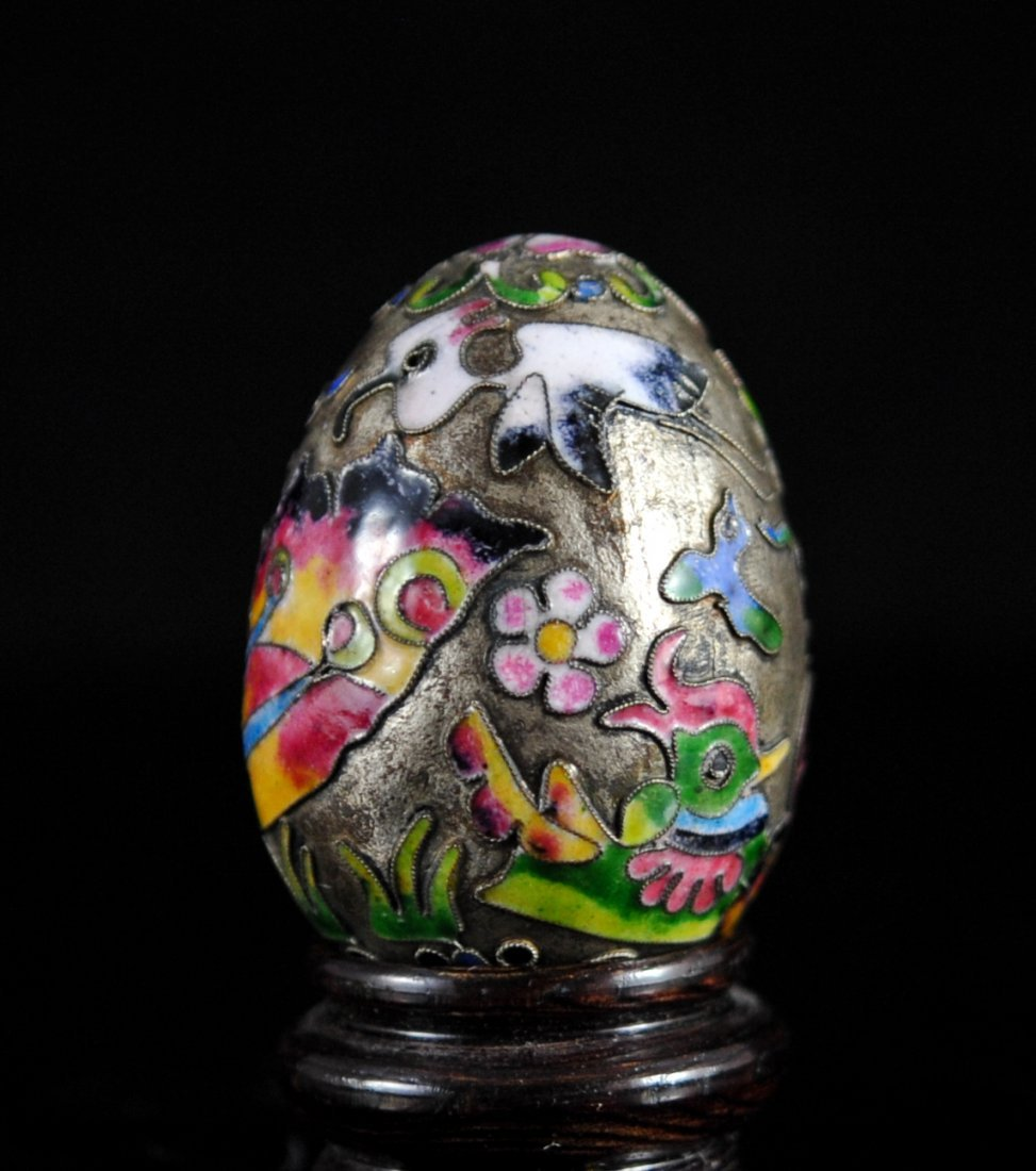 Antique Chinese Silver Enameled Egg