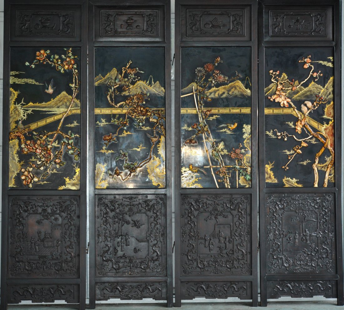 19th ct Chinese ivory 4 panel screen