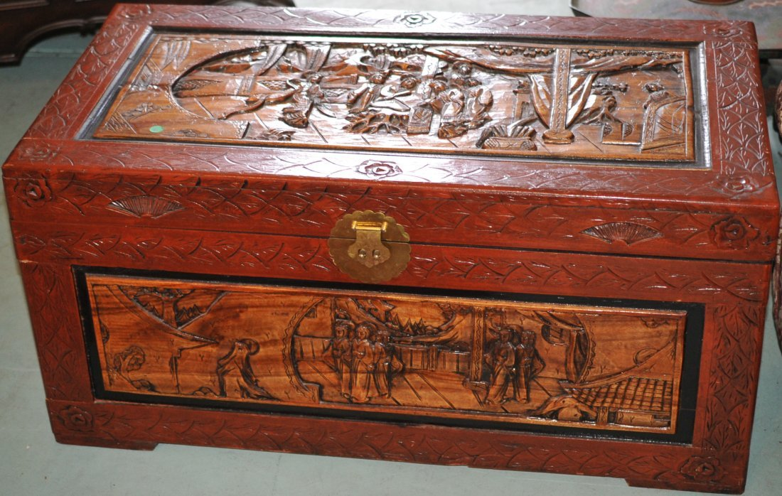Antique Hand Carved Wood Chinese Trunk