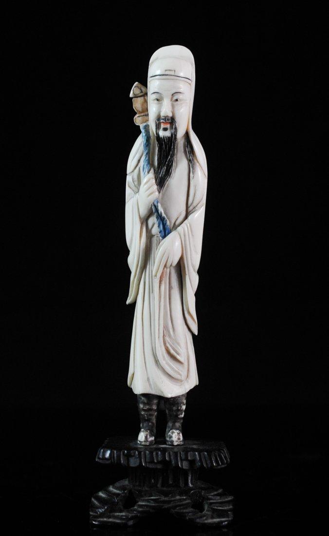 Vintage Polychrome Ivory Figure