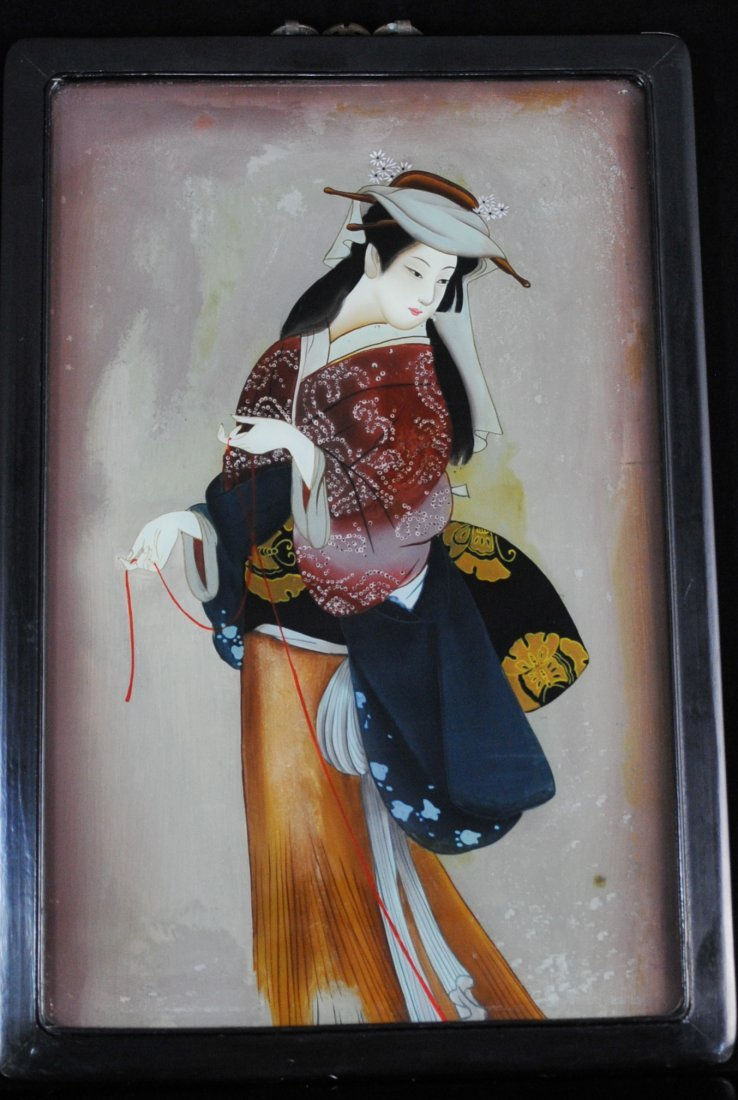 Antique Chinese Reverse Geisha Painting