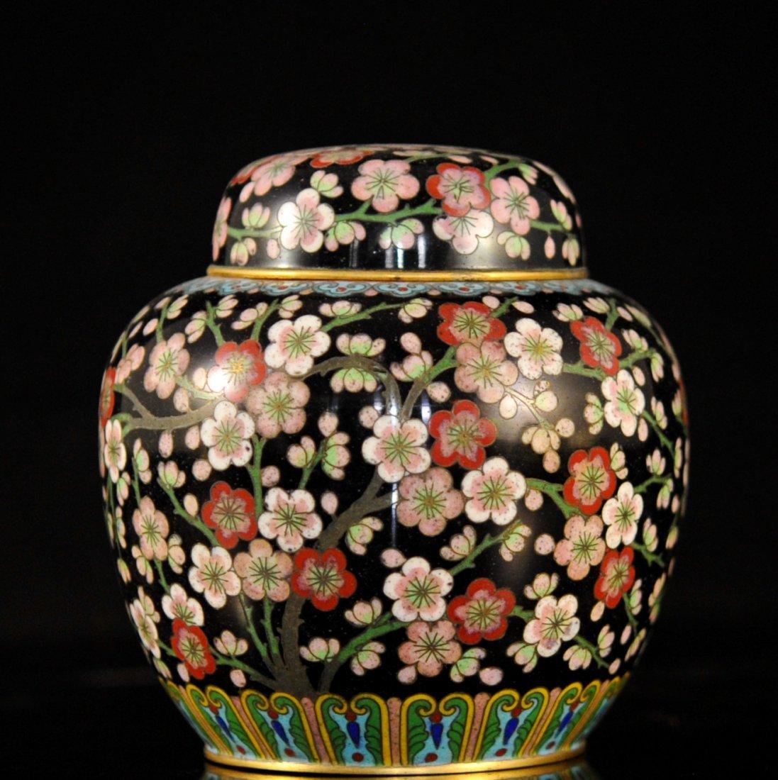Chinese Cloisonne Enamel Over Brass Urn
