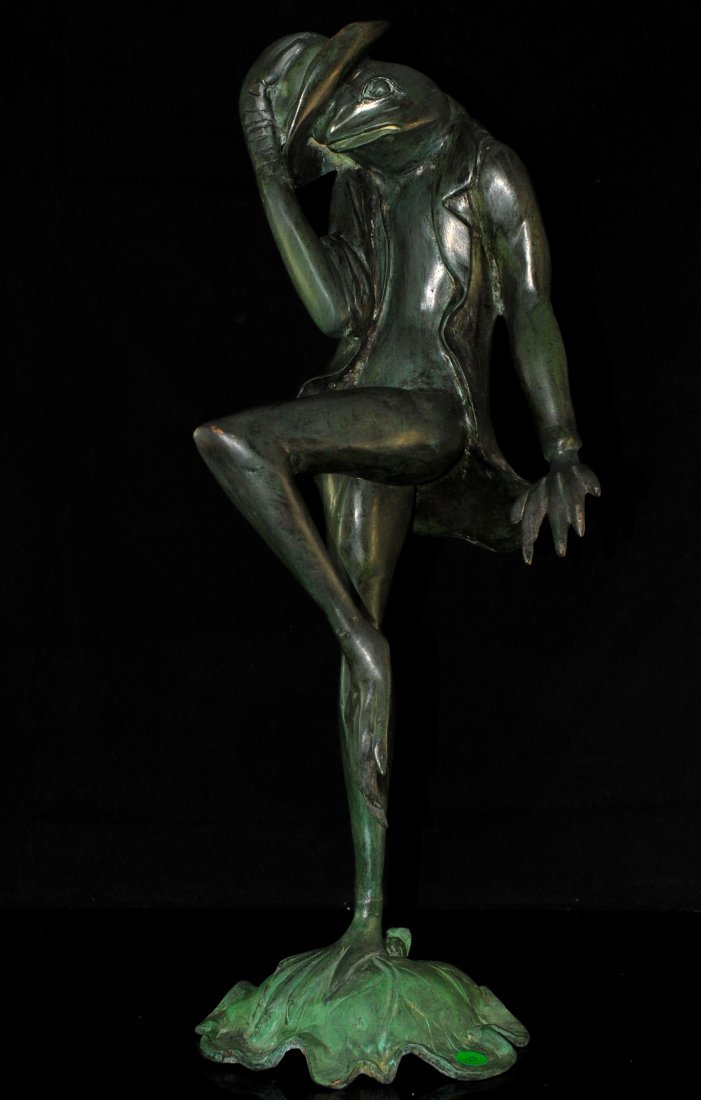 Vintage Dancing Frog Bronze Statue