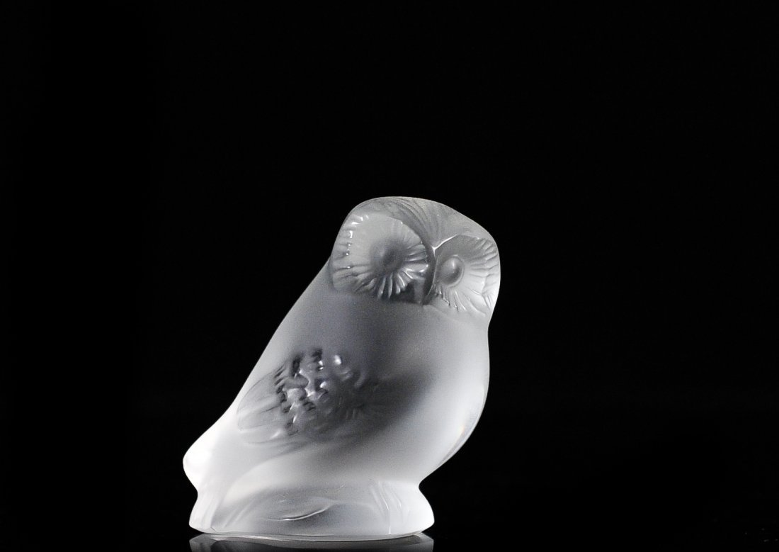 Lalique Crystal Nyctal Owl Paperweght Figure