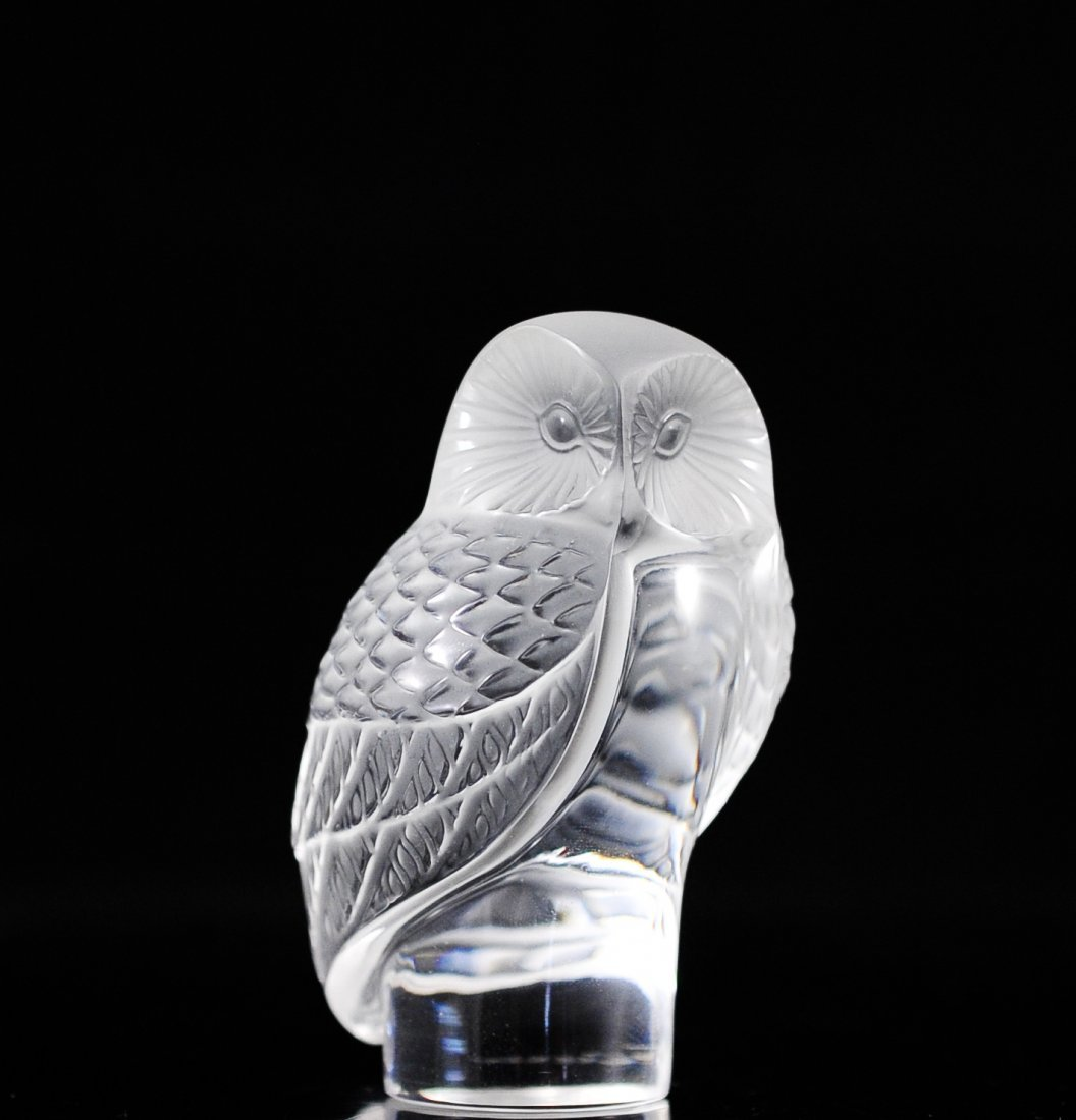 "Lalique Crystal ""Owl"" Paperweight"