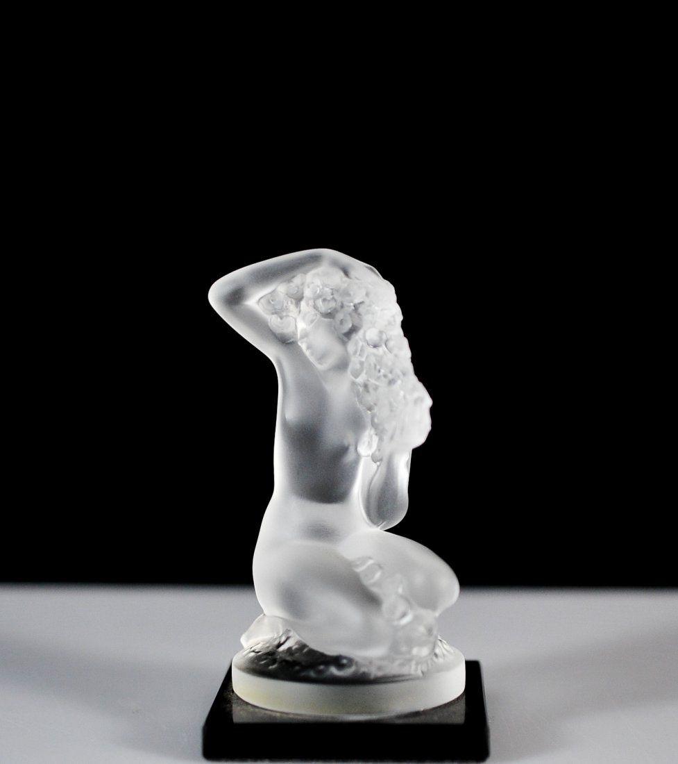 "Lalique ""Floreal"" Figurine On Black Base"