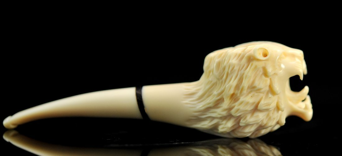 Chinese Hand Carved Ivory Lion Smokers Pipe - 2