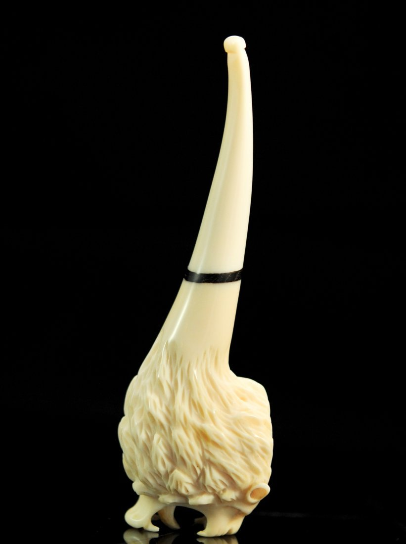 Chinese Hand Carved Ivory Lion Smokers Pipe - 5