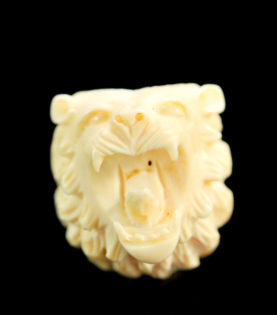 Chinese Hand Carved Ivory Lion Smokers Pipe - 6