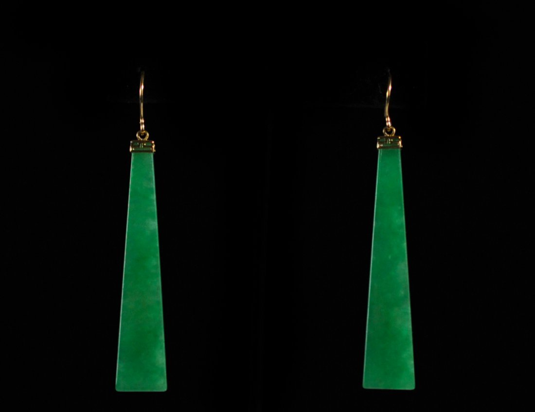 Vintage Gold And Jade Earrings