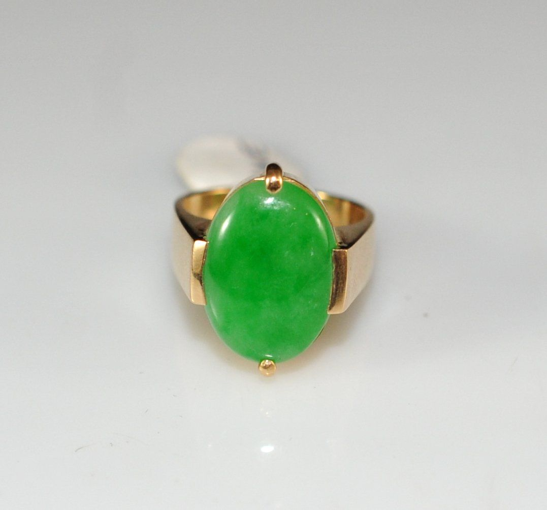 18k Gold & Apple Jade Ring